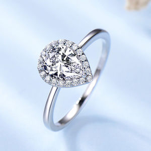 Tear Drop CZ Engagement Ring Plain Silver Band